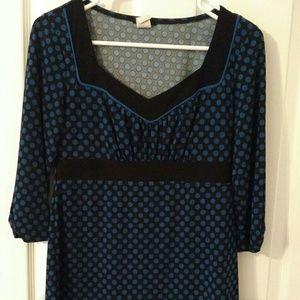 Tops - Blue polka dot blouse